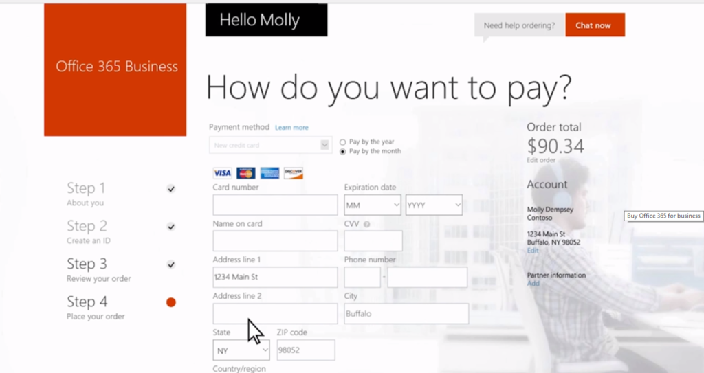 Office 365 web sign-up-payment page