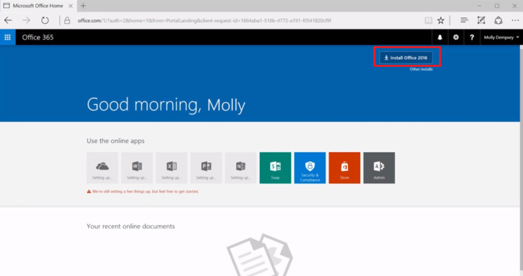 Office 365 website home screen