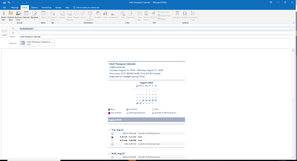 send availability outlook calendar in email