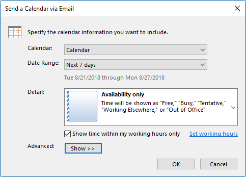 send availability outlook calendar via email